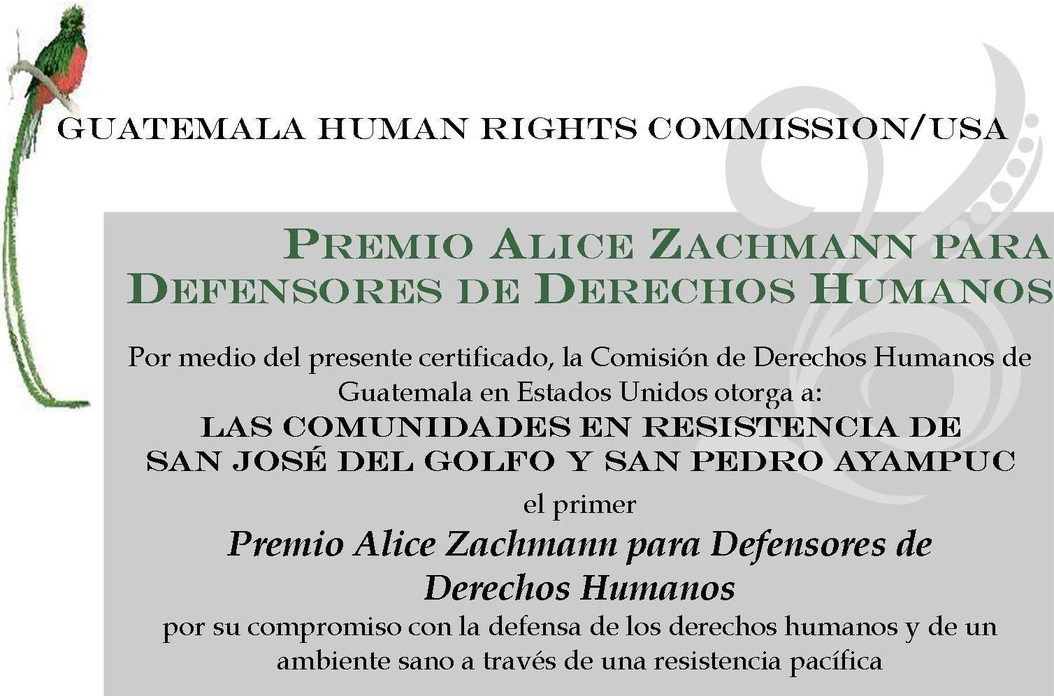 Alice Zachmann Award - La Puya